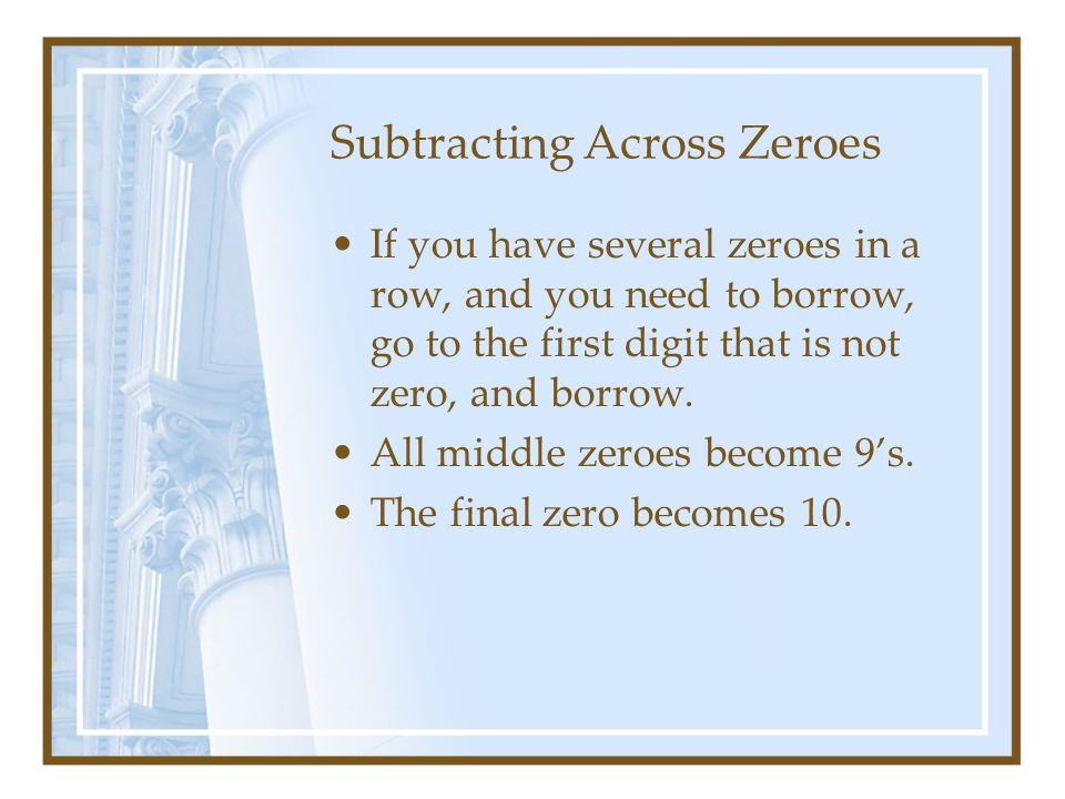 math worksheet : subtracting across zeros  more information : Subtraction Across Zero Worksheets