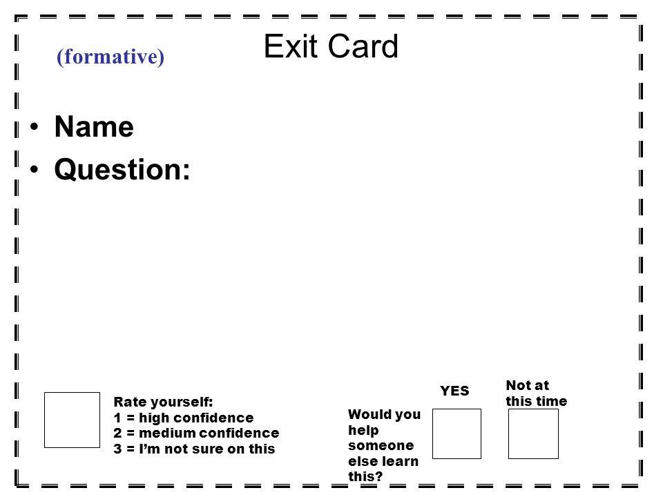 3-2-1 Exit Card