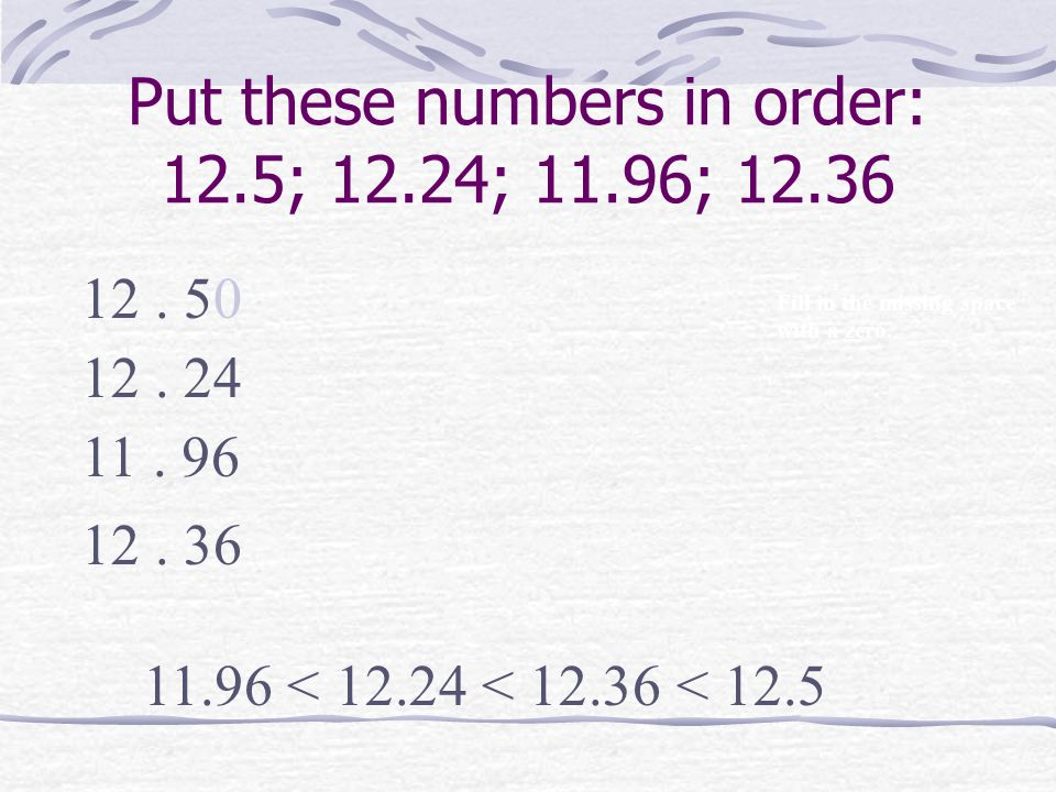 Put these numbers in order: 12.5; 12.24; 11.96; 12.36 12. 5 12. 24 11. 96 12. 36 Fill in the missing space with a zero. 11.96 < 12.24 < 12.36 < 12.5 0