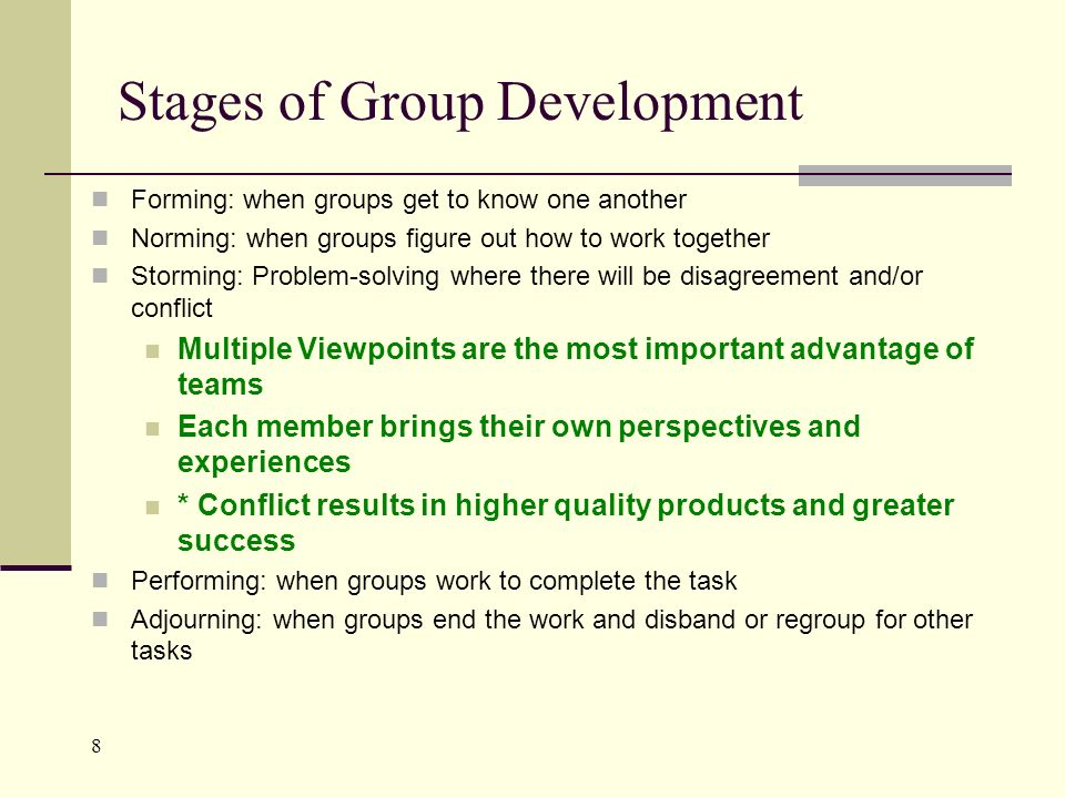 8 Stages of Group Development Forming: when groups get to know one another Norming: when groups figure out how to work together Storming: Problem-solving where there will be disagreement and/or conflict Multiple Viewpoints are the most important advantage of teams Each member brings their own perspectives and experiences * Conflict results in higher quality products and greater success Performing: when groups work to complete the task Adjourning: when groups end the work and disband or regroup for other tasks