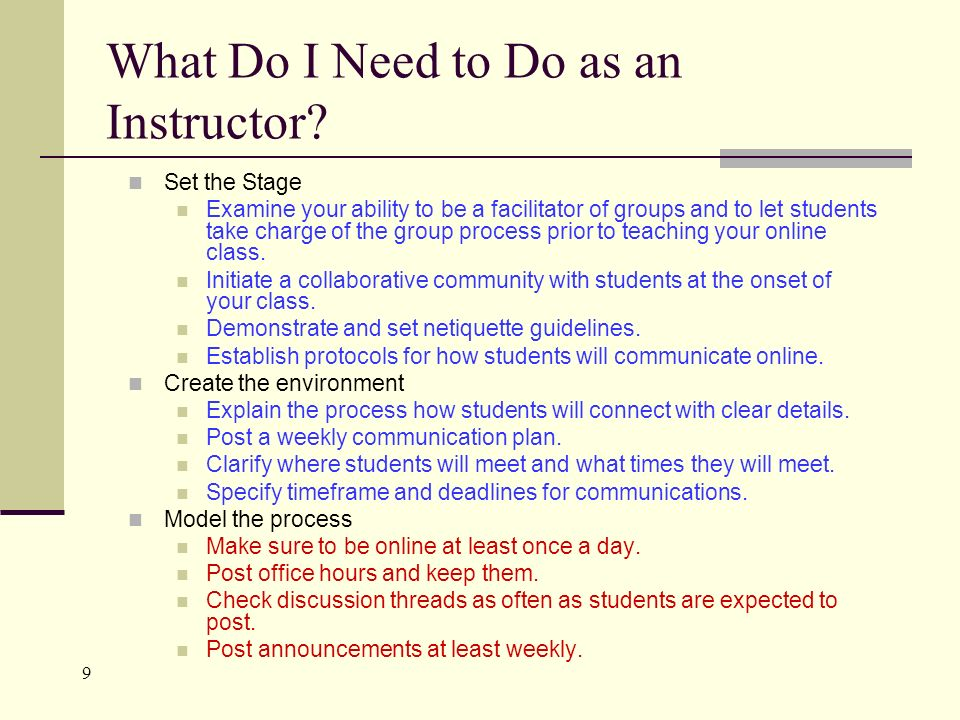 9 What Do I Need to Do as an Instructor.