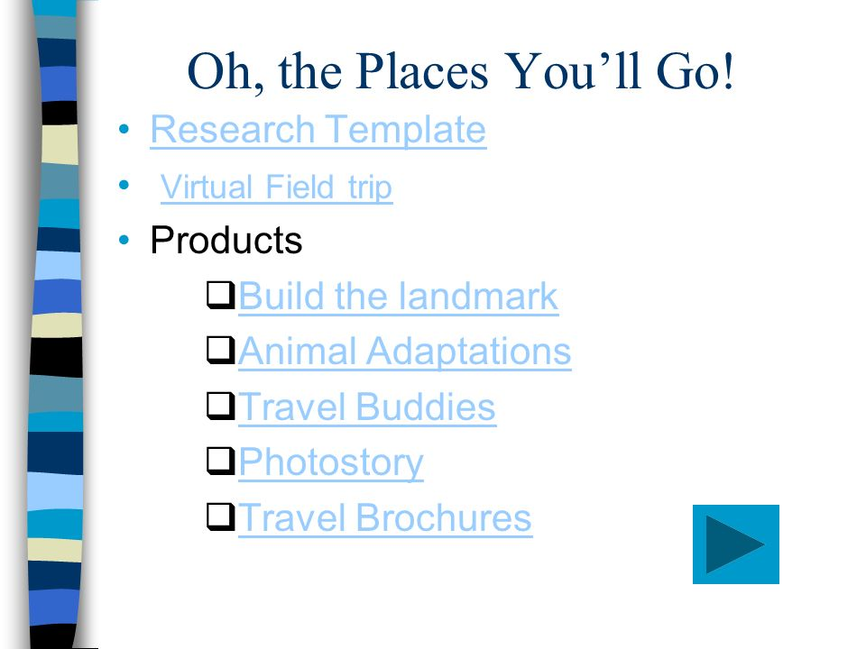 Oh, the Places Youll Go! Research Template Virtual Field trip Products Build the landmark Animal Adaptations Travel Buddies Photostory Travel Brochure