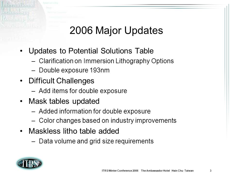 ITRS Winter Conference 2006 The Ambassador Hotel Hsin Chu Taiwan 3 2006 Major Updates Updates to Potential Solutions Table –Clarification on Immersion
