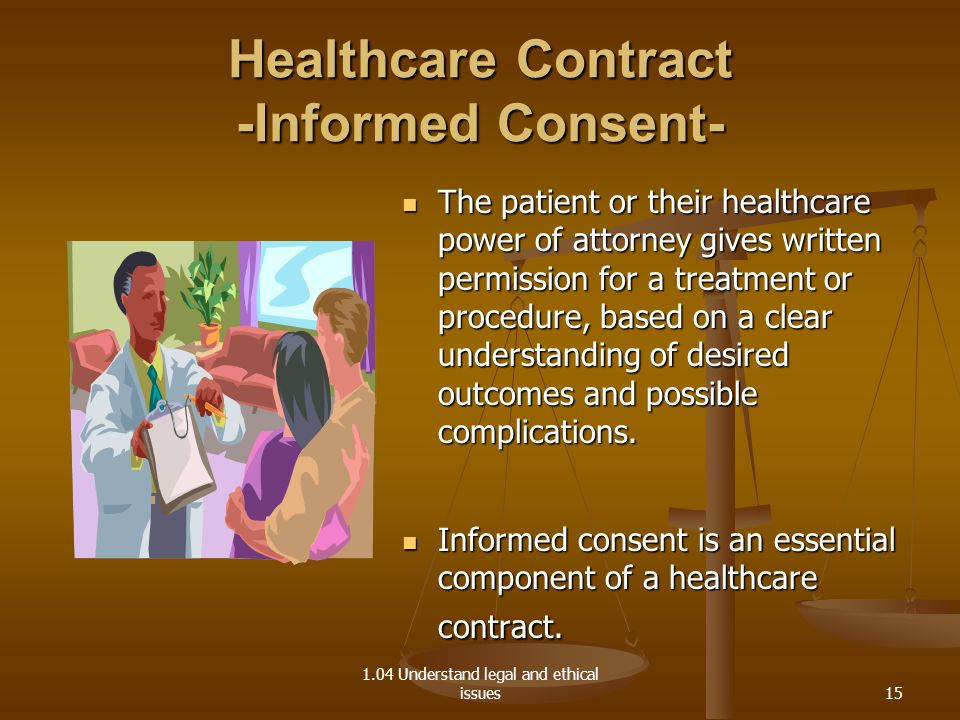1.04 Understand legal and ethical issues Healthcare Contract -Informed Consent- The patient or their healthcare power of attorney gives written permis