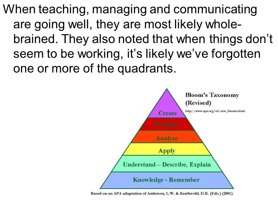 When teaching, managing and communicating are going well, they are most likely whole- brained. They also noted that when things dont seem to be workin
