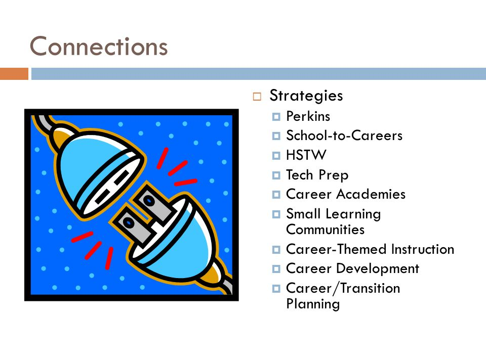 Connections Strategies Perkins School-to-Careers HSTW Tech Prep Career Academies Small Learning Communities Career-Themed Instruction Career Developme