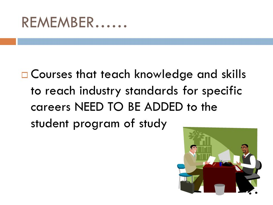 REMEMBER…… Courses that teach knowledge and skills to reach industry standards for specific careers NEED TO BE ADDED to the student program of study