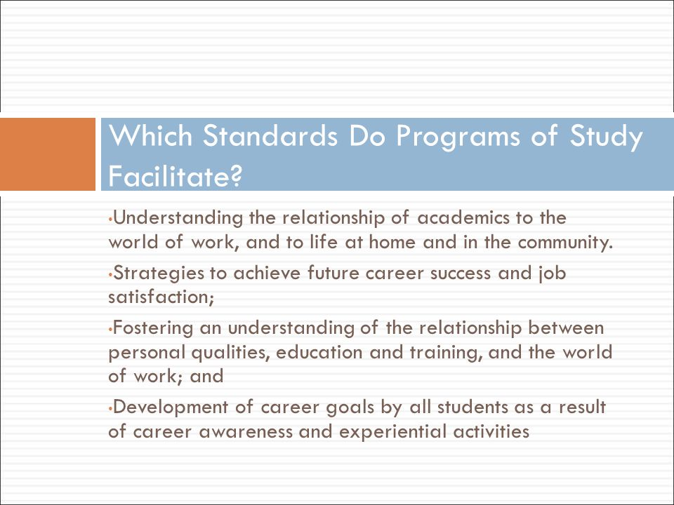 Understanding the relationship of academics to the world of work, and to life at home and in the community. Strategies to achieve future career succes