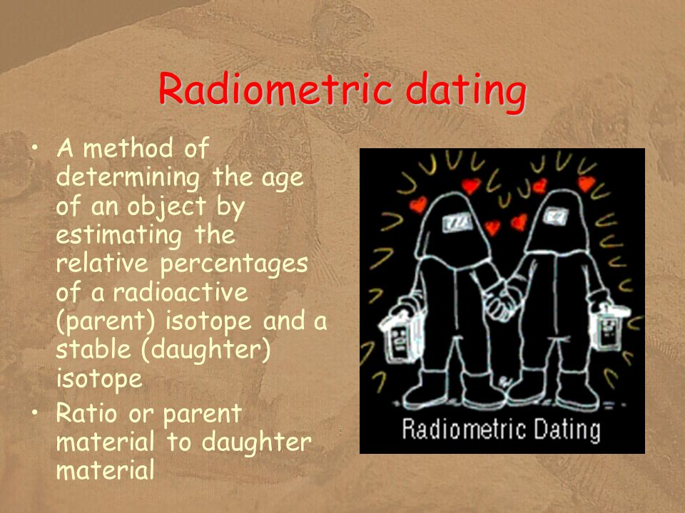 Radiometric dating A method of determining the age of an object by estimating the relative percentages of a radioactive (parent) isotope and a stable