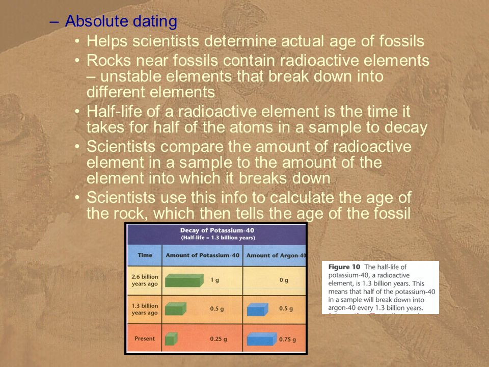 –Absolute dating Helps scientists determine actual age of fossils Rocks near fossils contain radioactive elements – unstable elements that break down