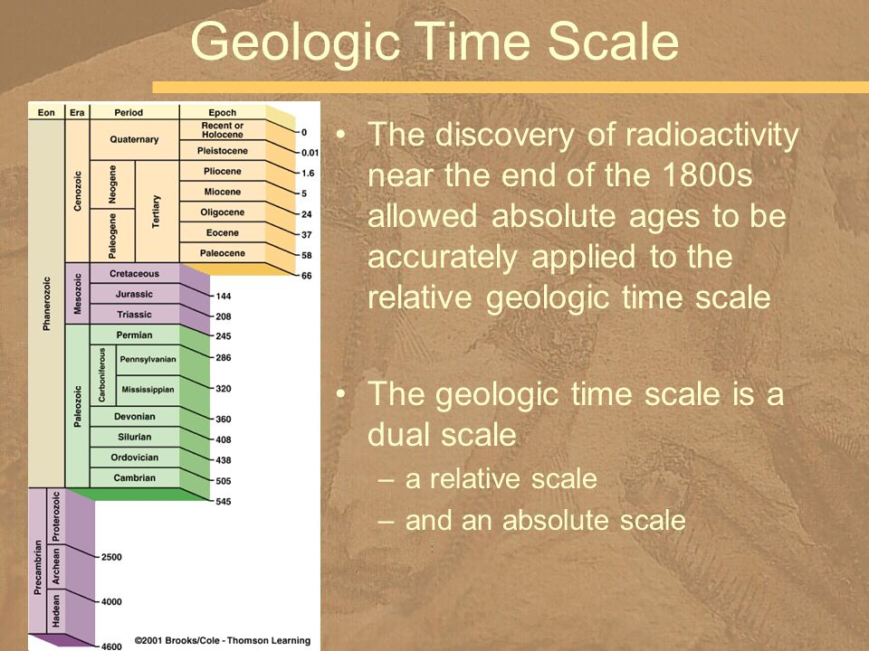The discovery of radioactivity near the end of the 1800s allowed absolute ages to be accurately applied to the relative geologic time scale The geolog