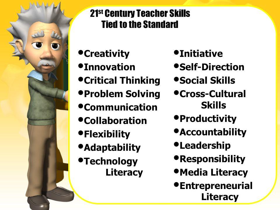 21 st Century Teacher Skills Tied to the Standard Creativity Innovation Critical Thinking Problem Solving Communication Collaboration Flexibility Adap