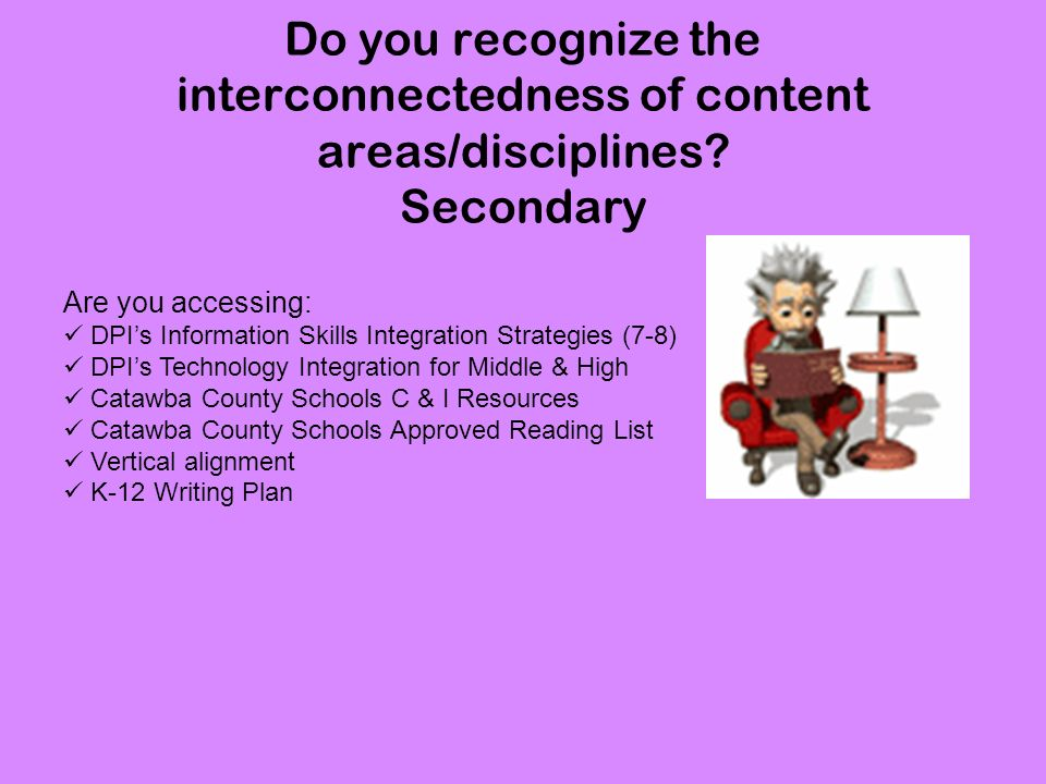 Do you recognize the interconnectedness of content areas/disciplines.