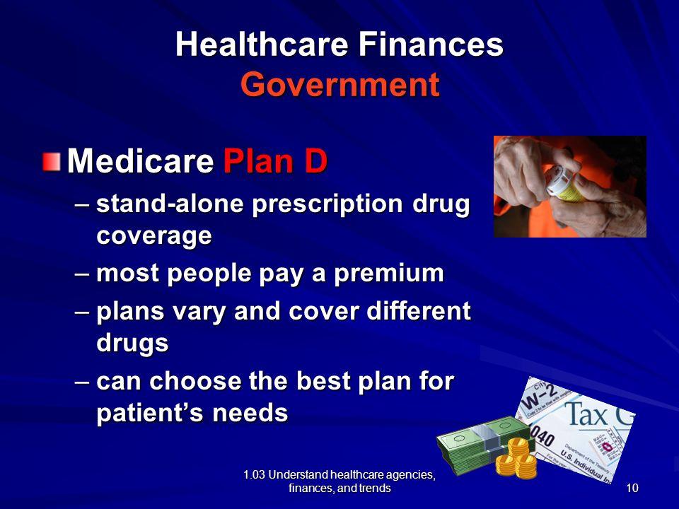 1.03 Understand healthcare agencies, finances, and trends Healthcare Finances Government Medicare Plan D –stand-alone prescription drug coverage –most