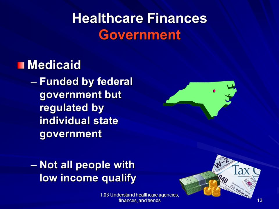 1.03 Understand healthcare agencies, finances, and trends Healthcare Finances Government Medicaid –Funded by federal government but regulated by indiv