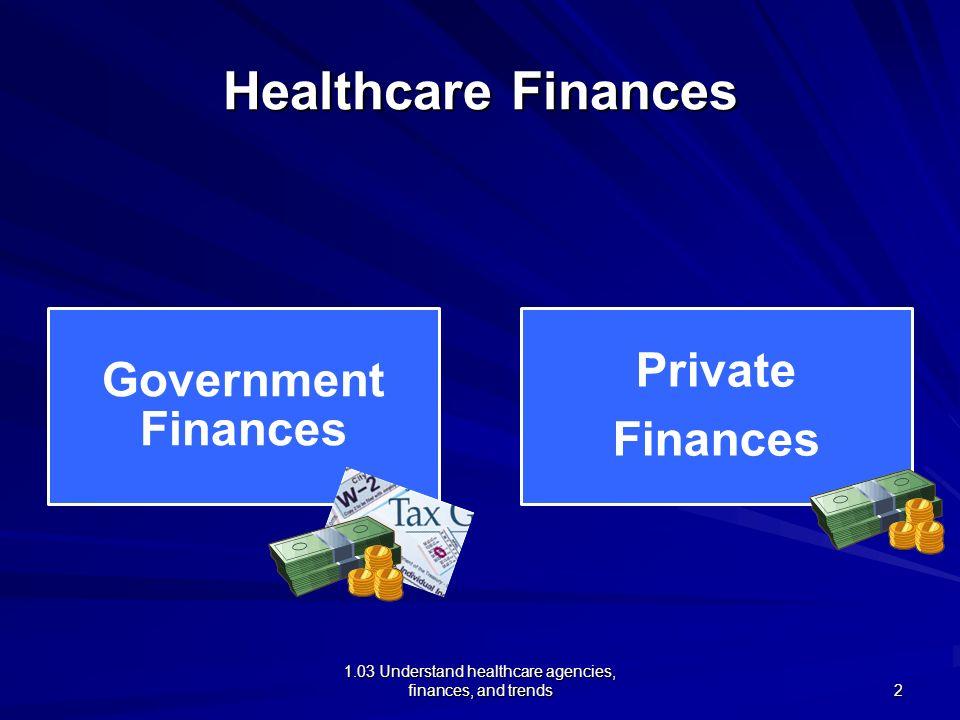 1.03 Understand healthcare agencies, finances, and trends Healthcare Finances Government Finances Private Finances 2
