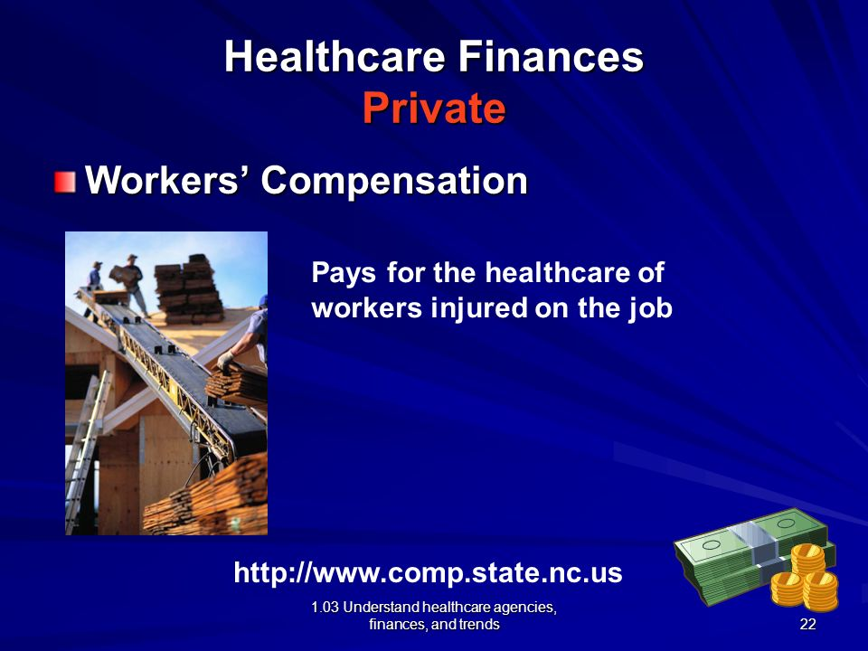 1.03 Understand healthcare agencies, finances, and trends Healthcare Finances Private Workers Compensation http://www.comp.state.nc.us Pays for the he