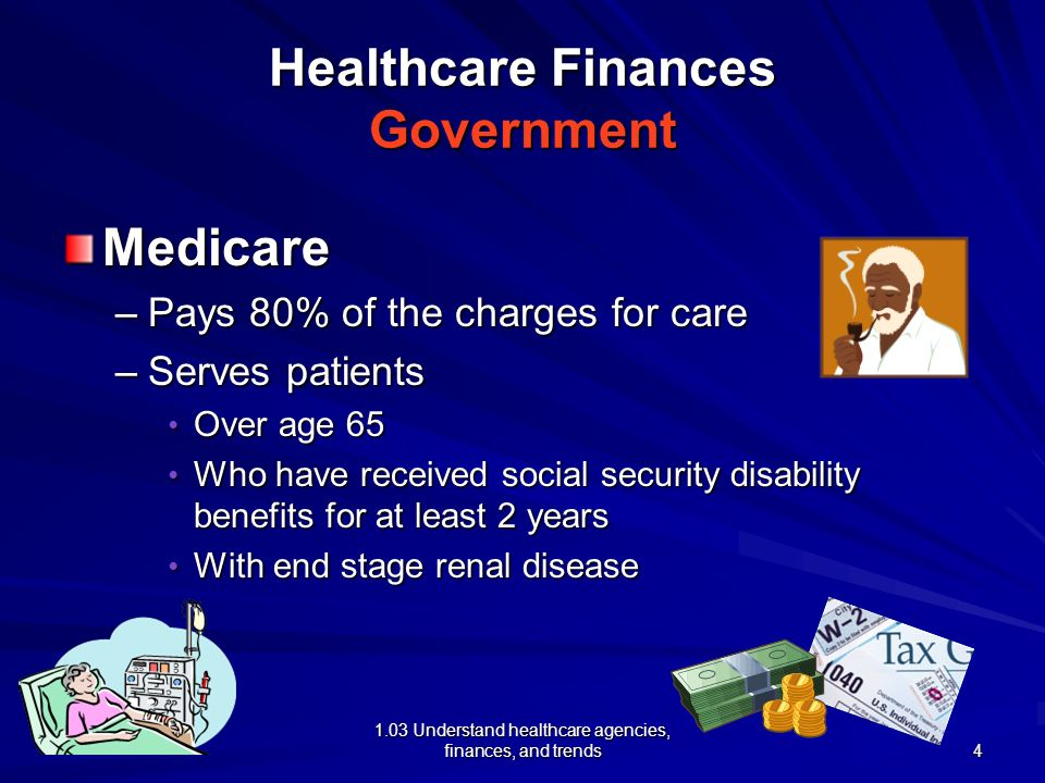 1.03 Understand healthcare agencies, finances, and trends Healthcare Finances Government Medicare –Pays 80% of the charges for care –Serves patients O