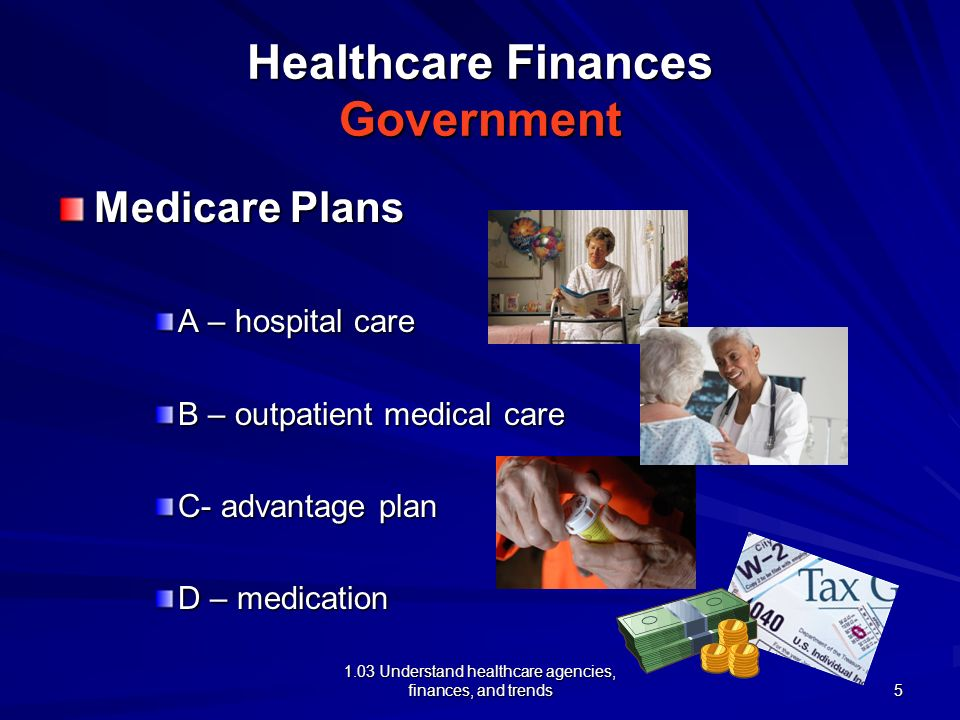 1.03 Understand healthcare agencies, finances, and trends Healthcare Finances Government Medicare Plans A – hospital care B – outpatient medical care