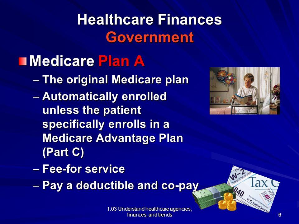 1.03 Understand healthcare agencies, finances, and trends Healthcare Finances Government Medicare Plan A –The original Medicare plan –Automatically en