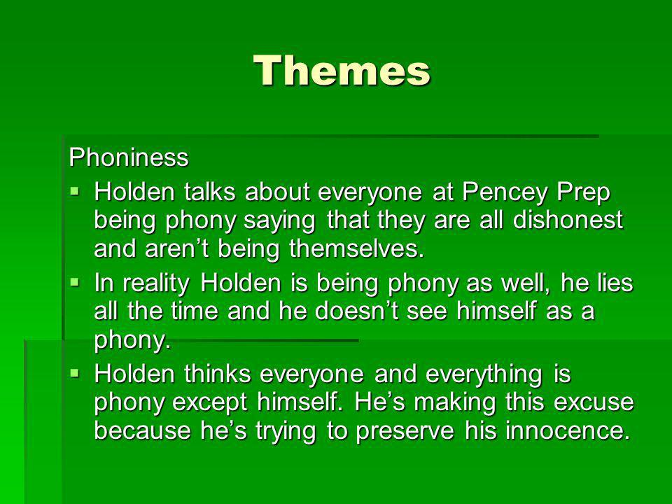 Themes (Continued) Alienation Holden makes it seem like he is better than everyone else which makes him think that he should isolate himself.