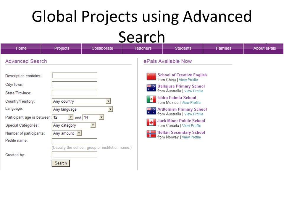 Global Projects using Advanced Search