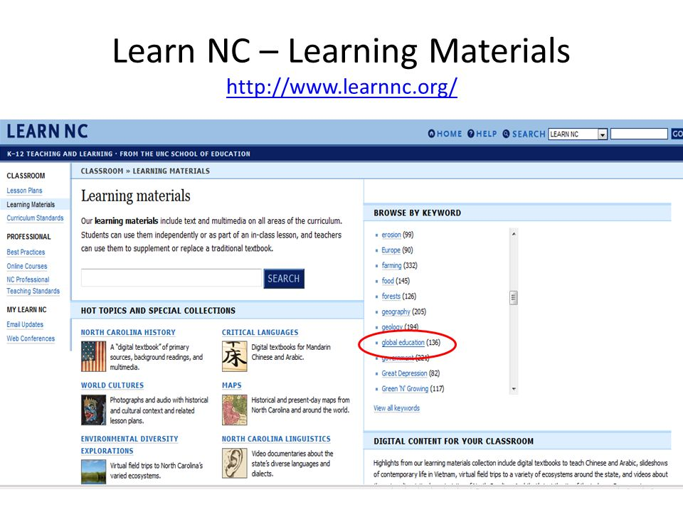 Learn NC – Learning Materials http://www.learnnc.org/ http://www.learnnc.org/