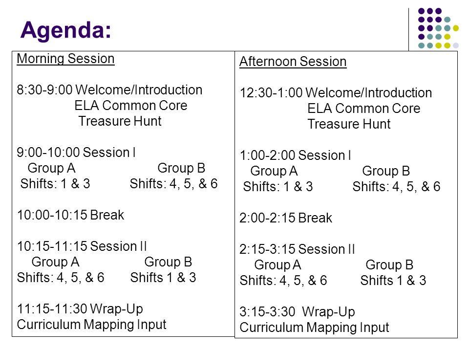 Agenda: Morning Session 8:30-9:00 Welcome/Introduction ELA Common Core Treasure Hunt 9:00-10:00 Session I Group AGroup B Shifts: 1 & 3 Shifts: 4, 5, &