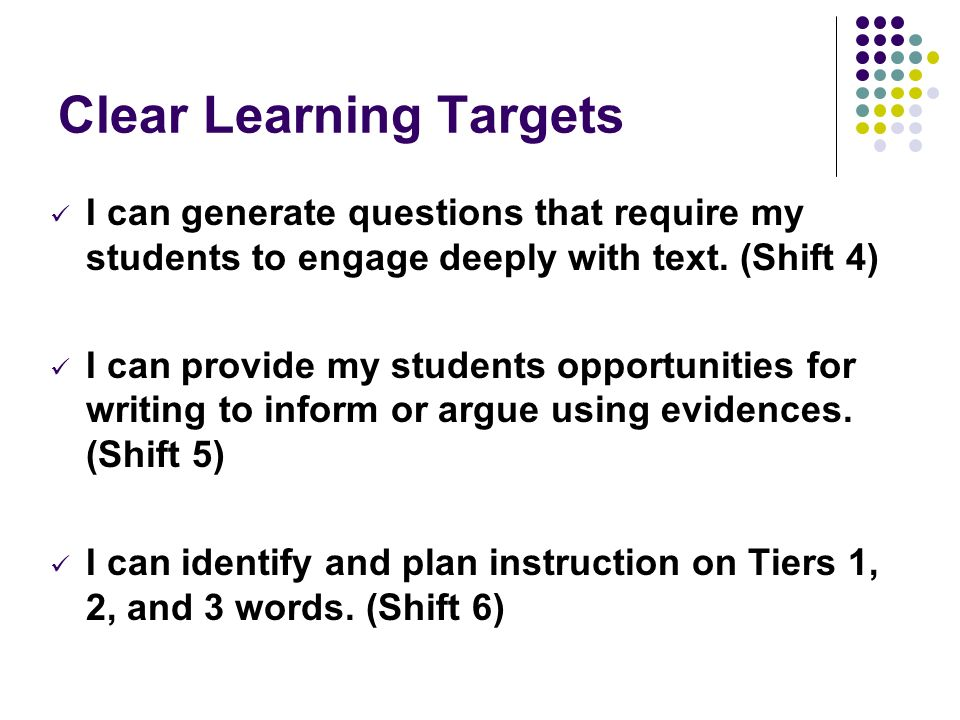 Clear Learning Targets I can generate questions that require my students to engage deeply with text. (Shift 4) I can provide my students opportunities