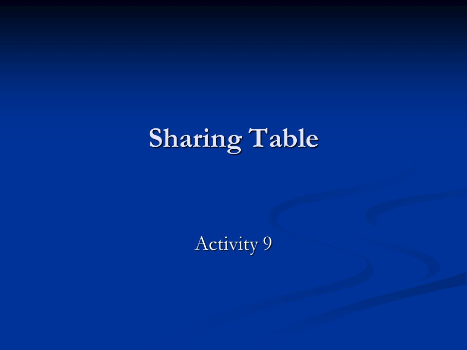 Sharing Table Activity 9