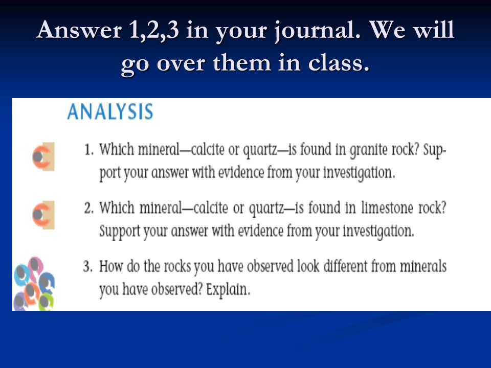 Answer 1,2,3 in your journal. We will go over them in class.