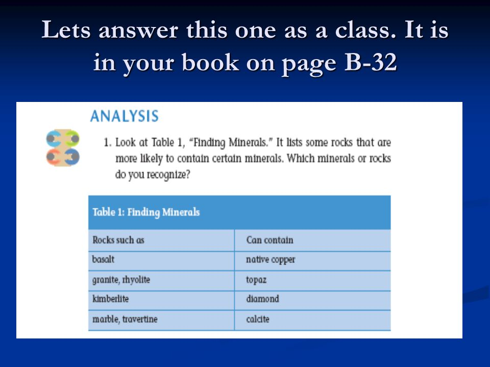 Lets answer this one as a class. It is in your book on page B-32