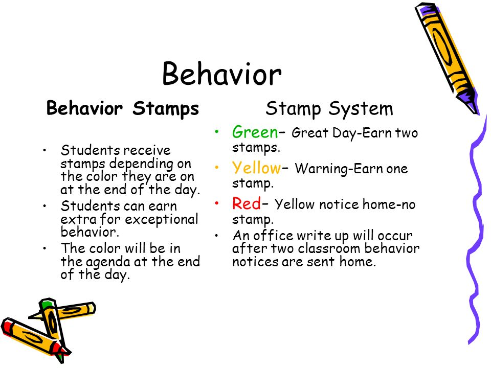 Behavior Behavior Stamps Students receive stamps depending on the color they are on at the end of the day.
