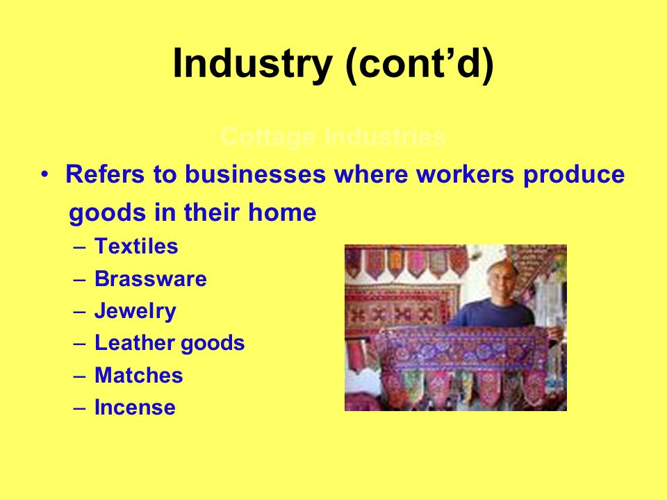 Industry (contd) Cottage Industries Refers to businesses where workers produce goods in their home –Textiles –Brassware –Jewelry –Leather goods –Match