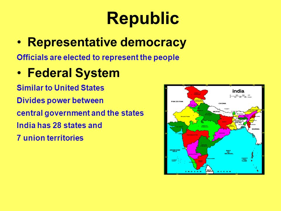 Republic Representative democracy Officials are elected to represent the people Federal System Similar to United States Divides power between central