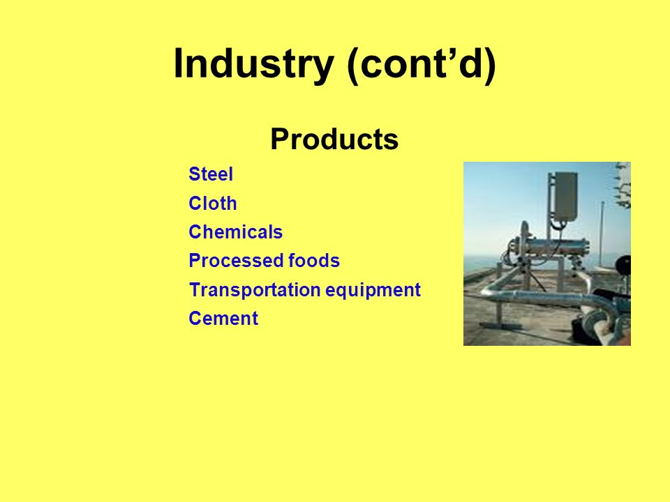Industry (contd) Products Steel Cloth Chemicals Processed foods Transportation equipment Cement
