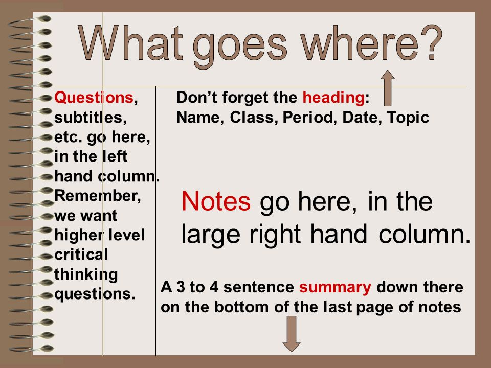 Notes go here, in the large right hand column. Questions, subtitles, etc. go here, in the left hand column. Remember, we want higher level critical th