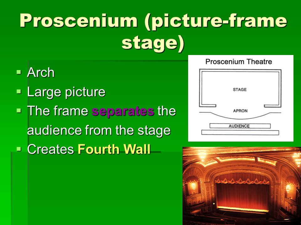 Proscenium (picture-frame stage) Arch Arch Large picture Large picture The frame separates the The frame separates the audience from the stage Creates