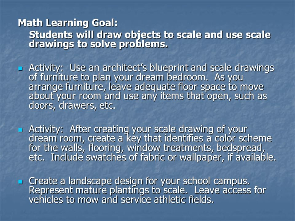 Math Learning Goal: Students will draw objects to scale and use scale drawings to solve problems.