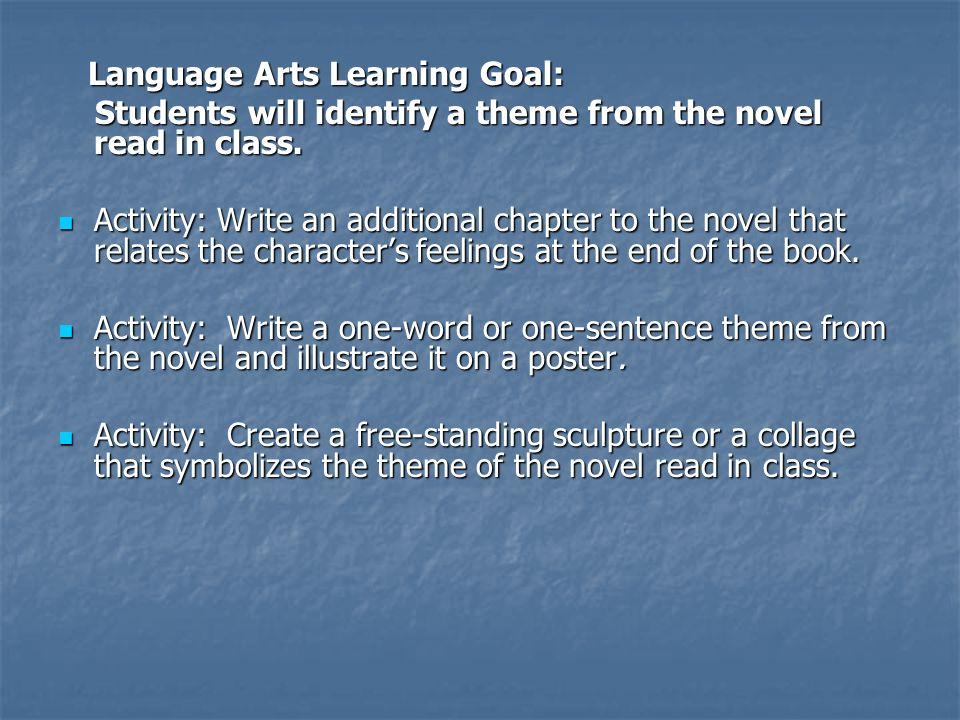 Language Arts Learning Goal: Language Arts Learning Goal: Students will identify a theme from the novel read in class.