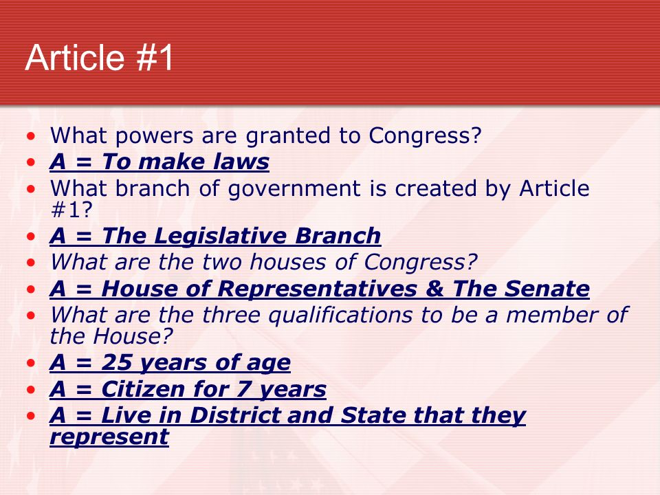 Article #6 What is the highest law.A = U.S.