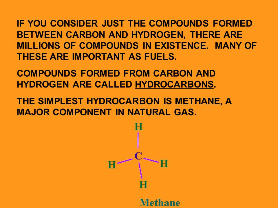 IF YOU CONSIDER JUST THE COMPOUNDS FORMED BETWEEN CARBON AND HYDROGEN, THERE ARE MILLIONS OF COMPOUNDS IN EXISTENCE.