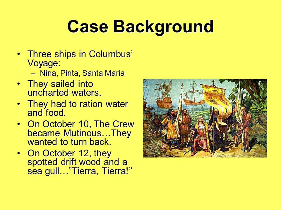 Case Background Christopher Columbus set sail from Spain on August 3, 1492.Christopher Columbus set sail from Spain on August 3, 1492. King Ferdinand