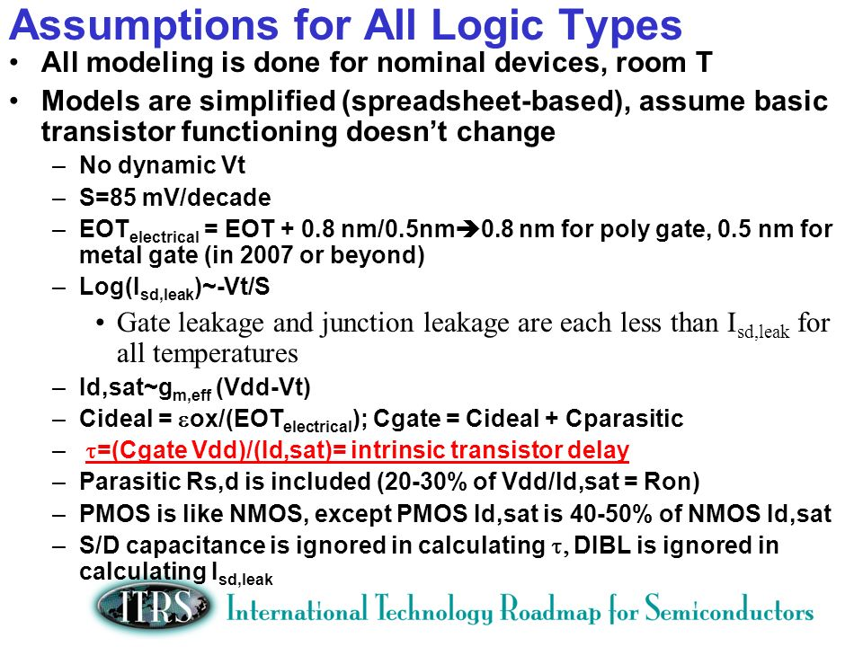 Assumptions for All Logic Types All modeling is done for nominal devices, room T Models are simplified (spreadsheet-based), assume basic transistor functioning doesnt change –No dynamic Vt –S=85 mV/decade –EOT electrical = EOT nm/0.5nm 0.8 nm for poly gate, 0.5 nm for metal gate (in 2007 or beyond) –Log(I sd,leak )~-Vt/S Gate leakage and junction leakage are each less than I sd,leak for all temperatures –Id,sat~g m,eff (Vdd-Vt) –Cideal = ox/(EOT electrical ); Cgate = Cideal + Cparasitic – =(Cgate Vdd)/(Id,sat)= intrinsic transistor delay –Parasitic Rs,d is included (20-30% of Vdd/Id,sat = Ron) –PMOS is like NMOS, except PMOS Id,sat is 40-50% of NMOS Id,sat –S/D capacitance is ignored in calculating DIBL is ignored in calculating I sd,leak