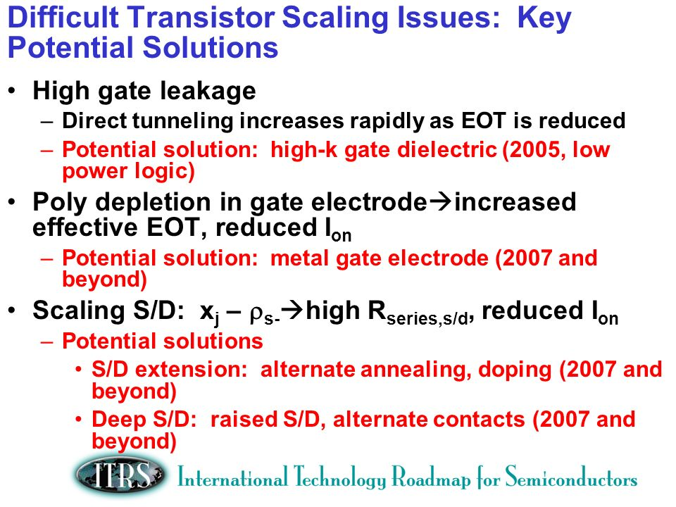 Difficult Transistor Scaling Issues: Key Potential Solutions High gate leakage –Direct tunneling increases rapidly as EOT is reduced –Potential soluti