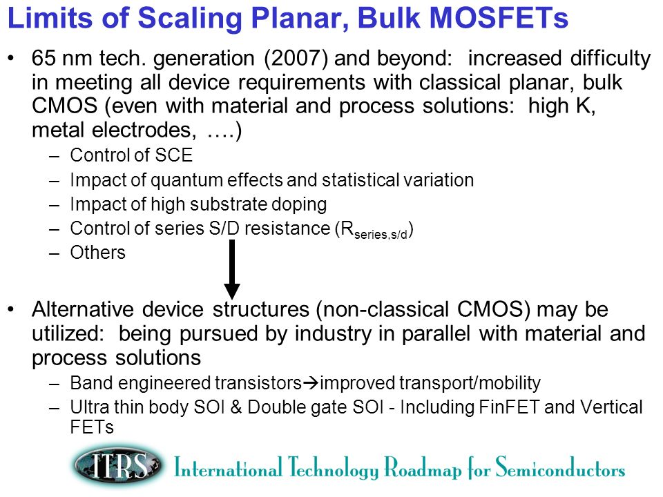 Limits of Scaling Planar, Bulk MOSFETs 65 nm tech. generation (2007) and beyond: increased difficulty in meeting all device requirements with classica