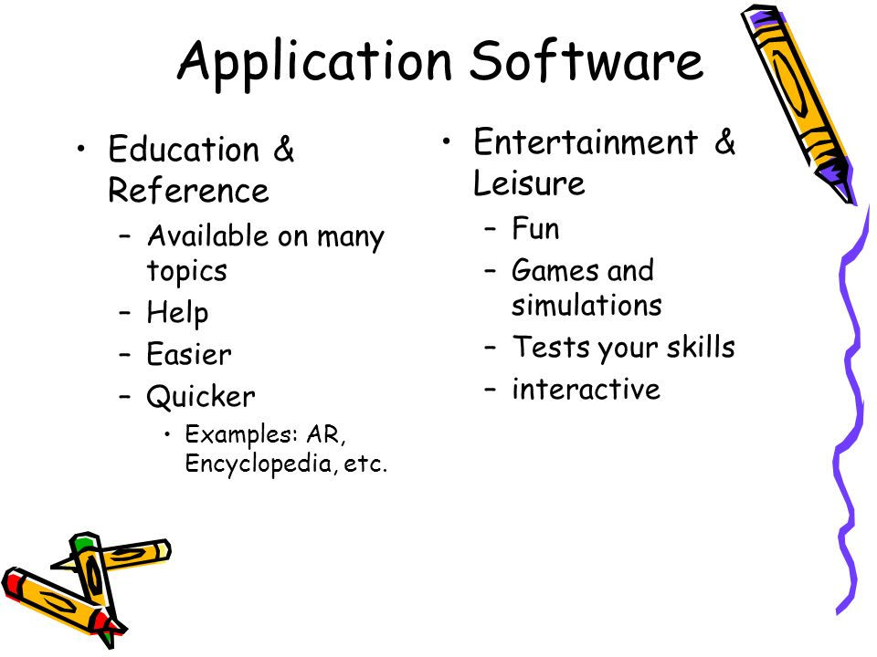 Application Software Education & Reference –Available on many topics –Help –Easier –Quicker Examples: AR, Encyclopedia, etc. Entertainment & Leisure –