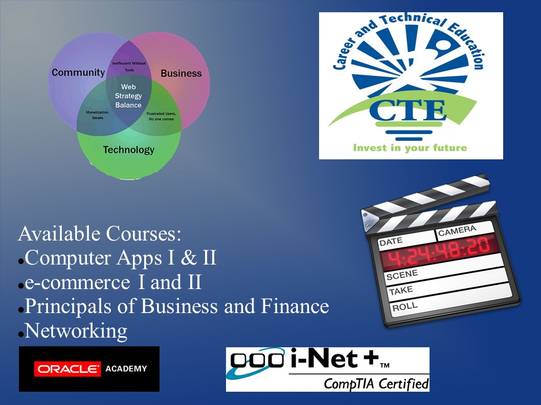 Available Courses: Computer Apps I & II e-commerce I and II Principals of Business and Finance Networking