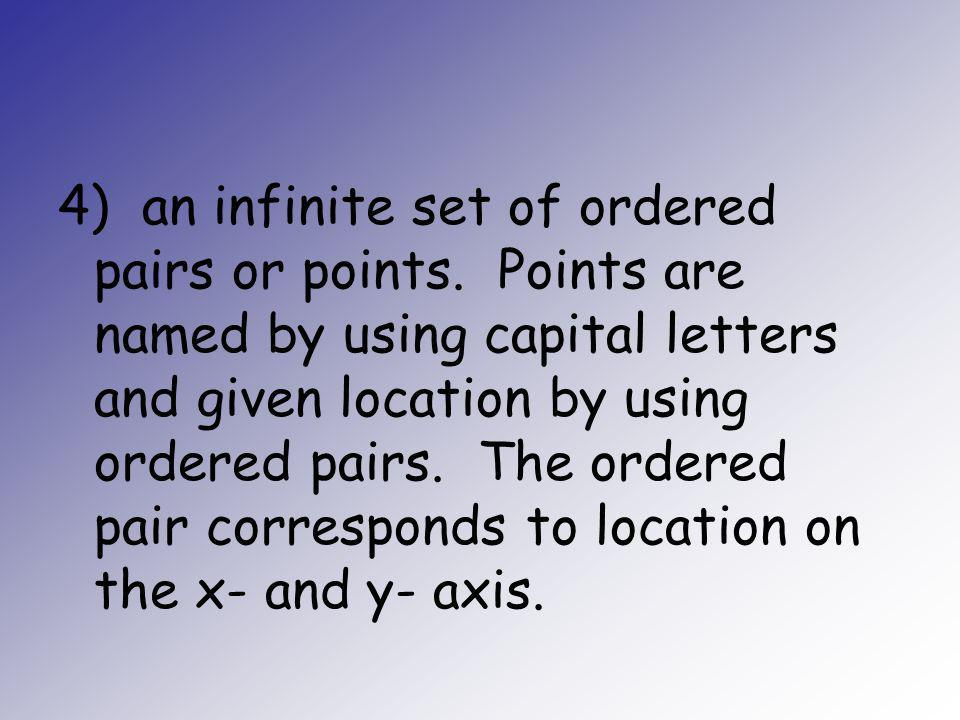 4) an infinite set of ordered pairs or points. Points are named by using capital letters and given location by using ordered pairs. The ordered pair c