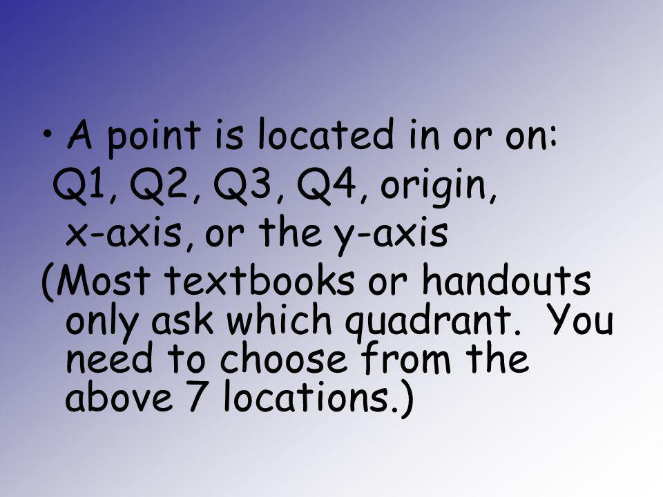 A point is located in or on: Q1, Q2, Q3, Q4, origin, x-axis, or the y-axis (Most textbooks or handouts only ask which quadrant. You need to choose fro